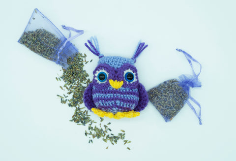 Owl Lavender Pillow Pouch - Sleep Aid and Calming Anxiety. Handmade Crochet Stuffed Animal