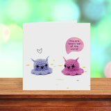'You are totally out of this world' Cute squishy alien love & friendship greetings card