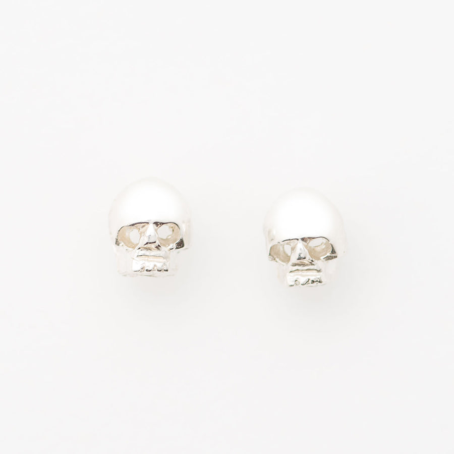 Skull Head Stud Earrings Sterling Silver