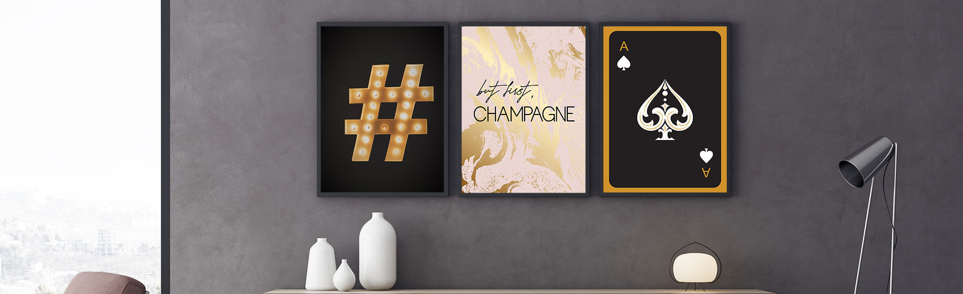 Are you looking to add a touch of gold to your room? Browse our gold collections of poster / canvas prints and choose from ace playing cards prints or gold architecture prints. Browse our collections and start creating your stylish wall art gallery!