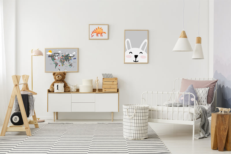 kids room bunny poster print world map poster dinosaur poster for kids room and nursery