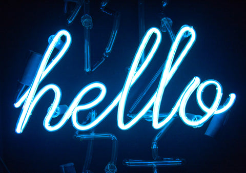 Blue neon hello sign