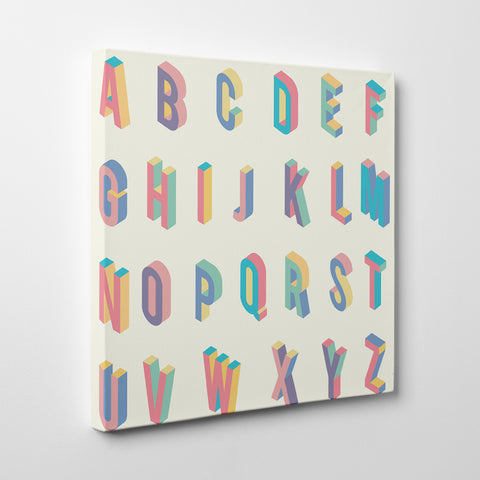 Square canvas print with colourful 3D alphabet letters - side view