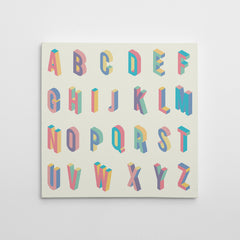 Square canvas print with colourful 3D alphabet letters.