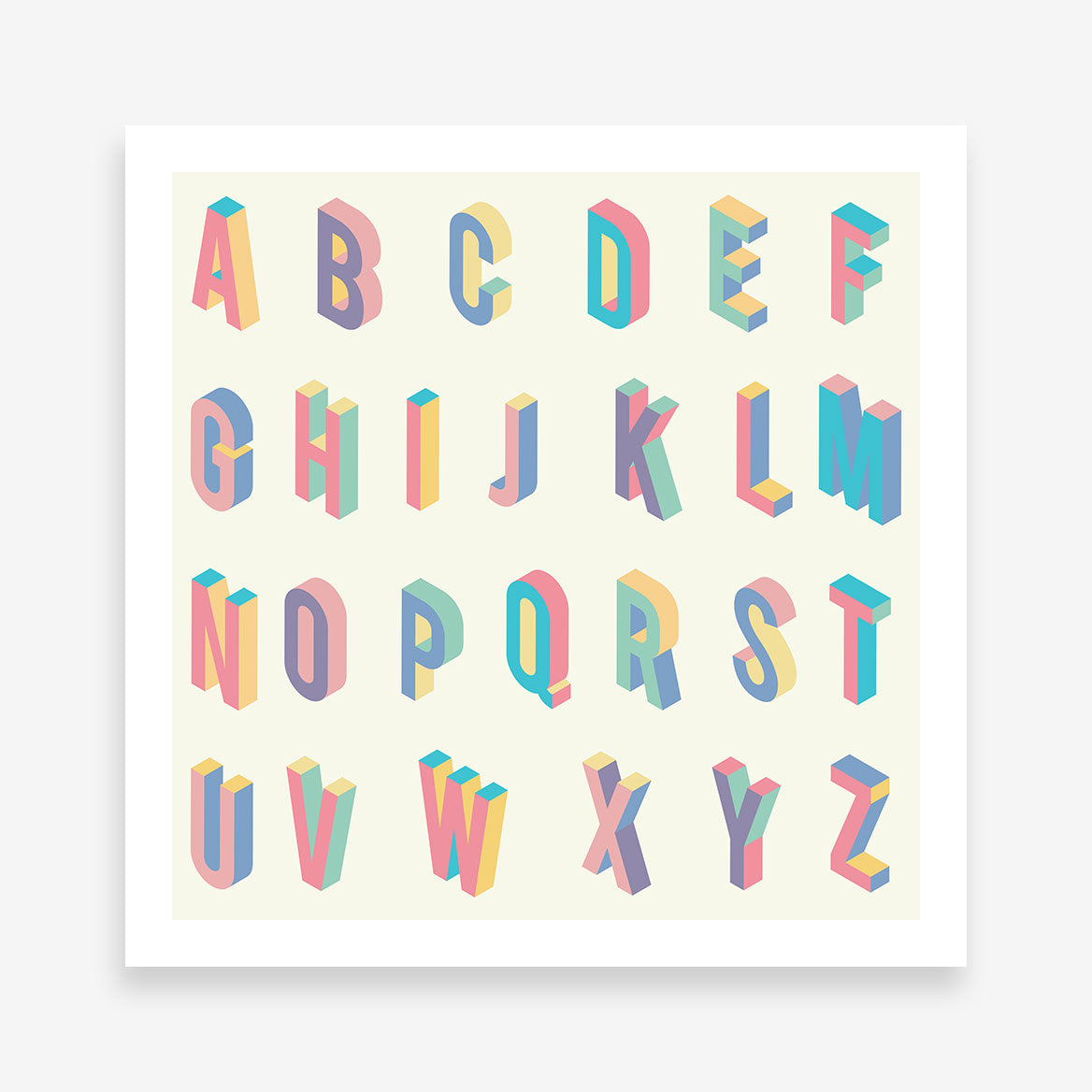 Square poster print with colourful 3D alphabet letters.