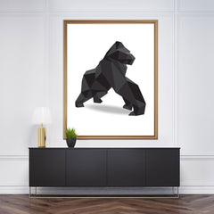 Geometric wall art decor with a 3D black gorilla on white background