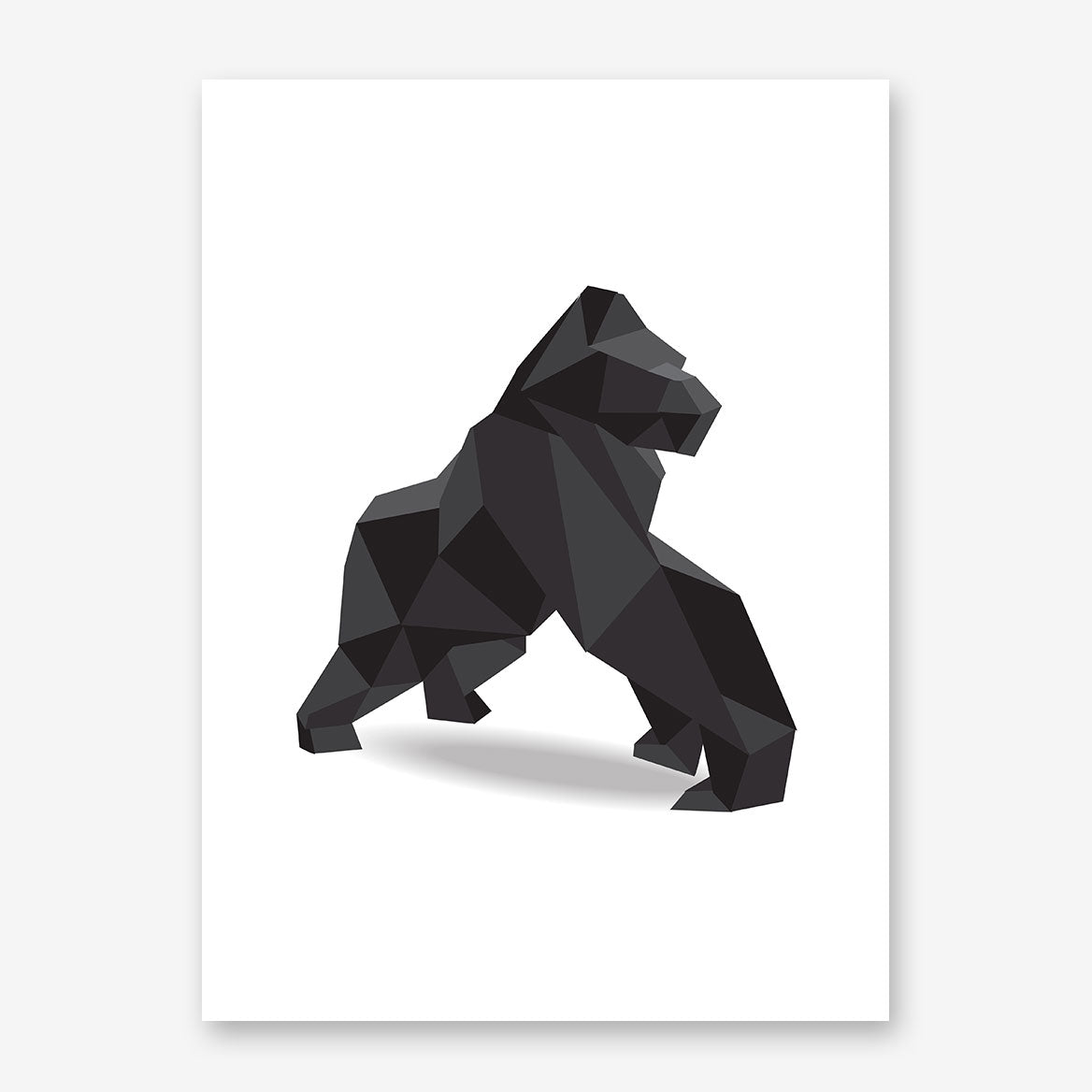 Geometric poster print with a 3D black gorilla on white background