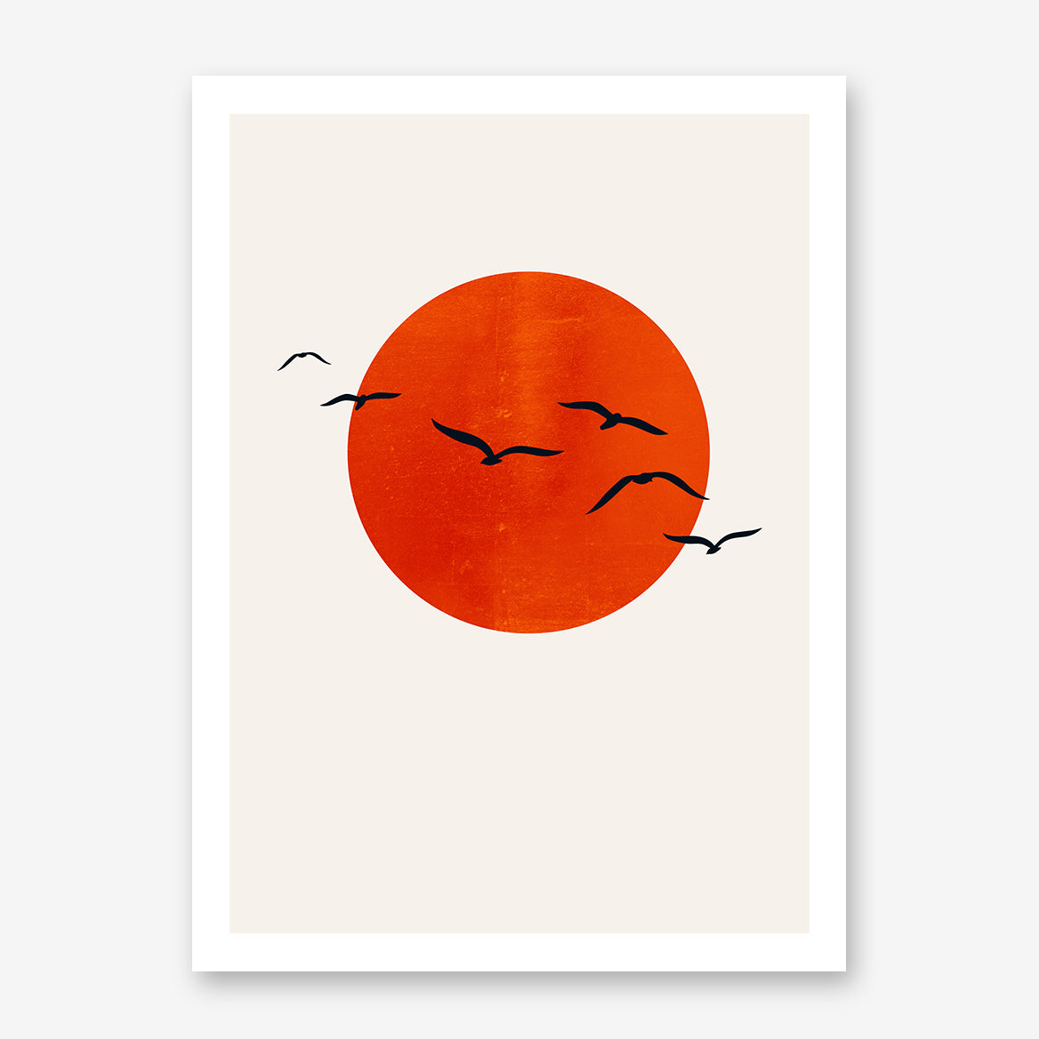 Poster print by Kubistika with intense orange sun and black birds, on beige background