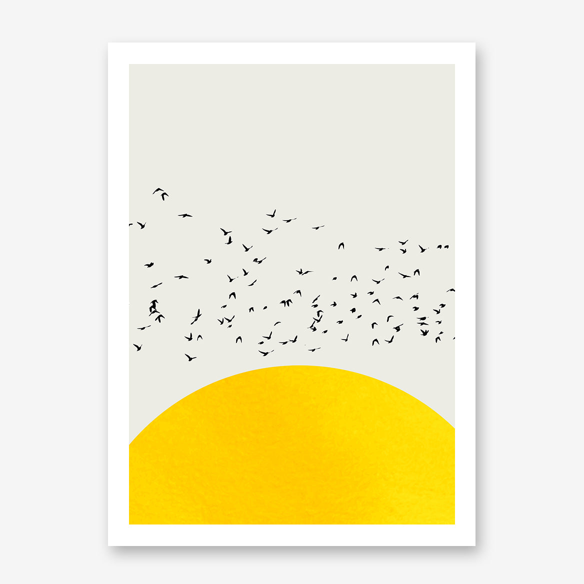 Poster print by Kubistika, with textured yellow sun and black birds, on light grey background