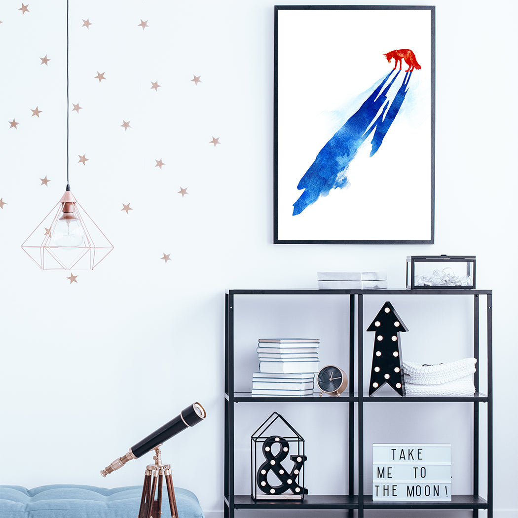 Watercolour illustration print with a red wolf and its blue shadow; in kids room