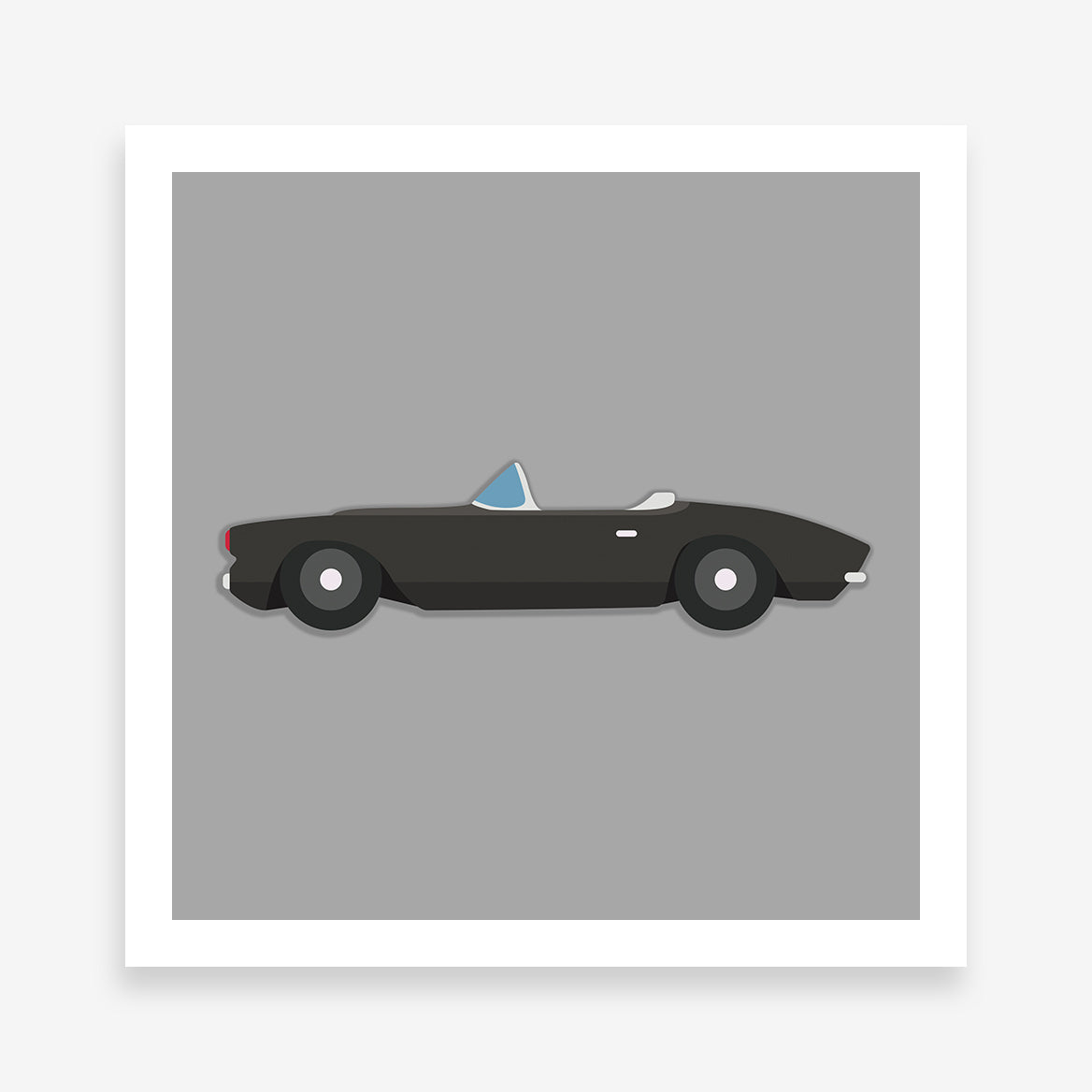 Poster print with a black convertible classic car on a grey background.