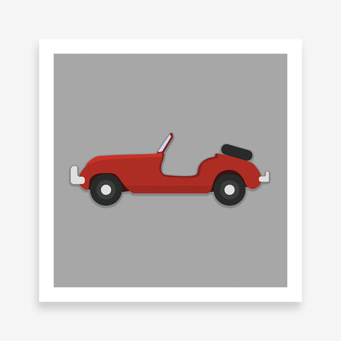 Poster print with a red convertible classic car on a grey background.