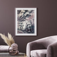 Architecture poster print, originally a watercolour painted artwork by Vera Kolgashkina, in living room