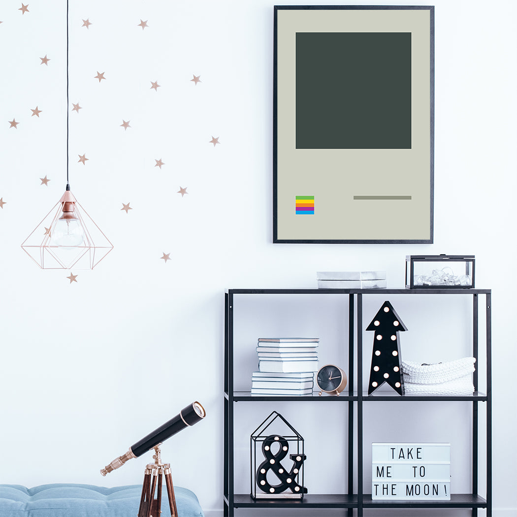 Illustration poster print with retro video game console; in kids room