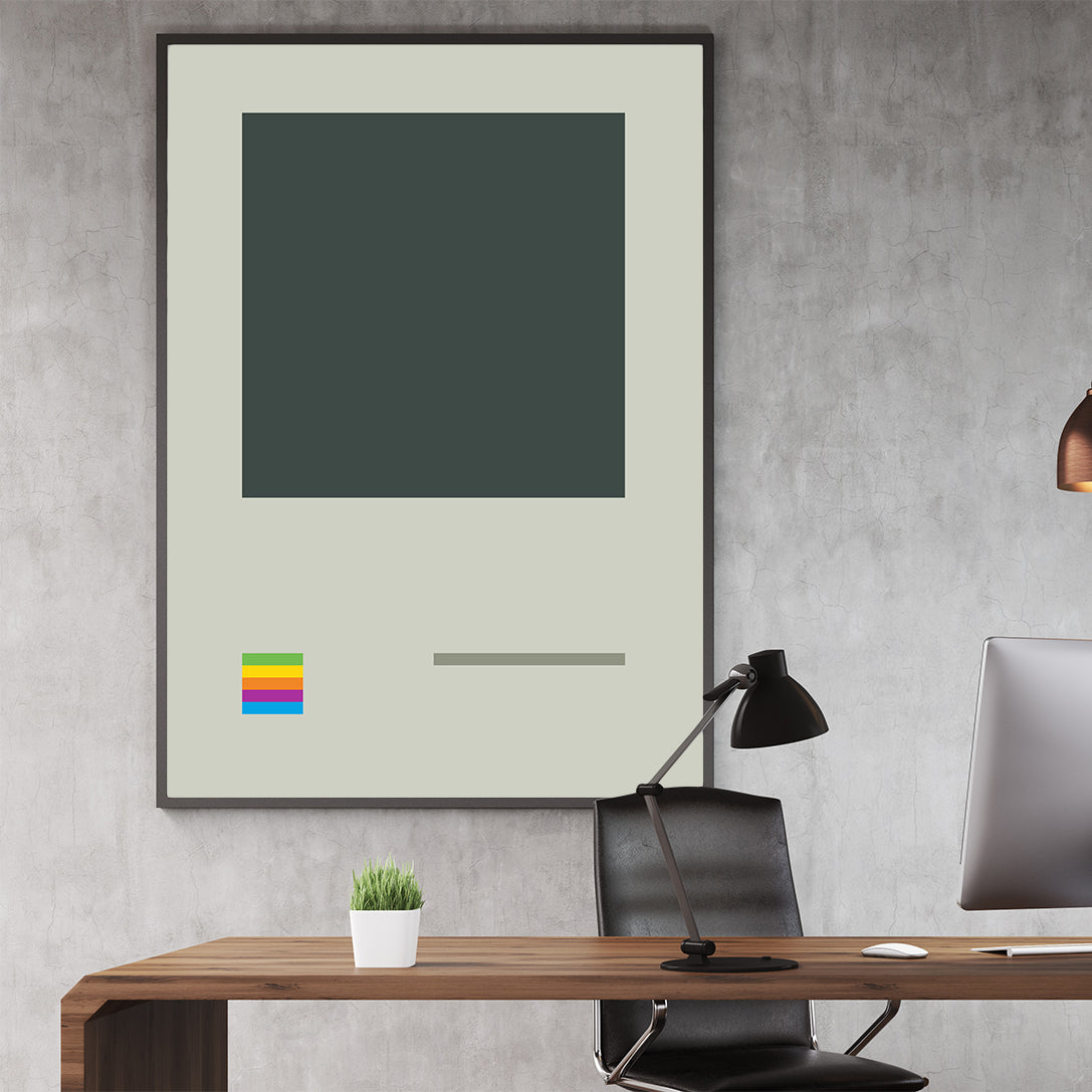 Illustration poster print with retro video game console; in office