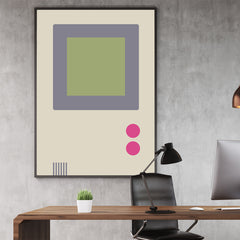 Gaming illustration poster print with retro video game console; in office