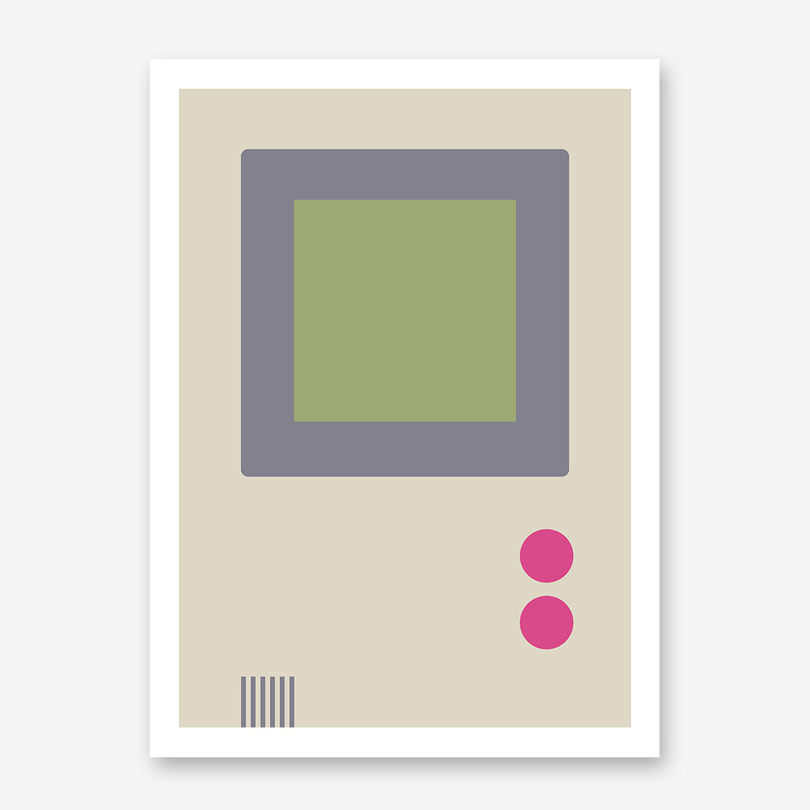Gaming illustration poster print with retro video game console.