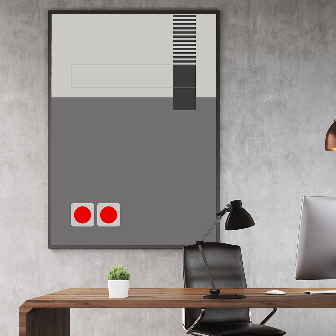 Gaming illustration poster print with grey abstract console; in office