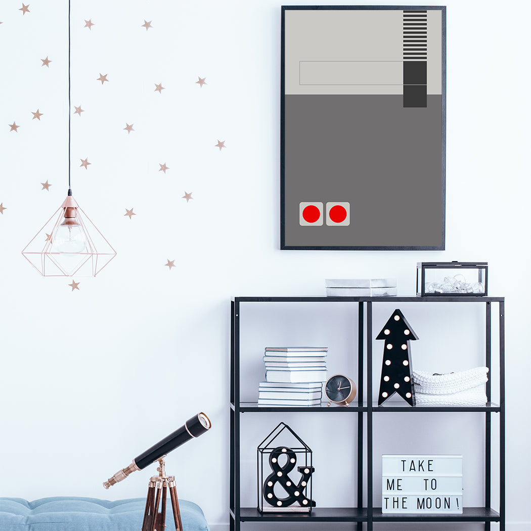 Gaming illustration poster print with grey abstract console; in games room