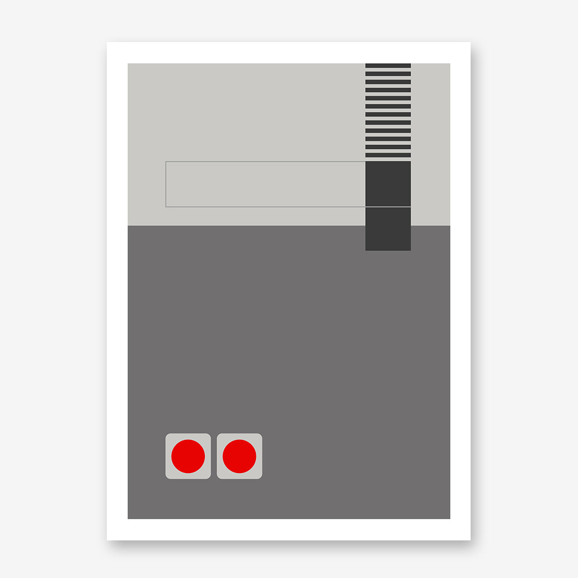 Gaming illustration poster print with grey abstract console.
