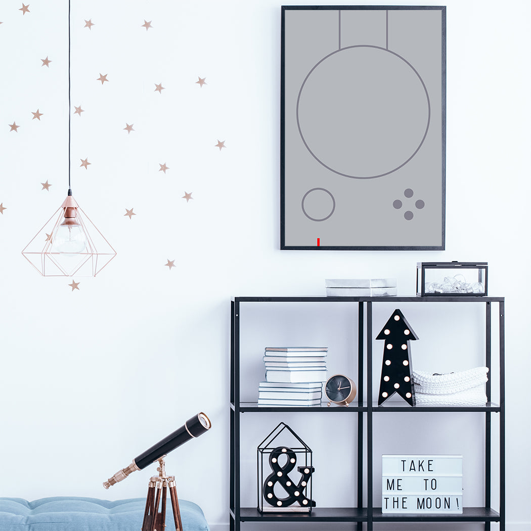 Gaming illustration poster print with grey abstract controller; in kids room
