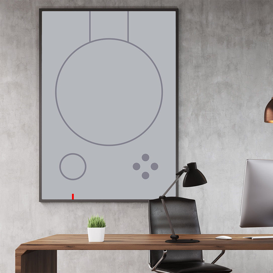 Gaming illustration poster print with grey abstract controller; in office