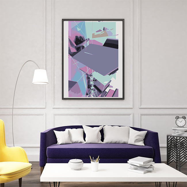 Abstract poster print by Henry Hu, with purple and blue shapes, as full print