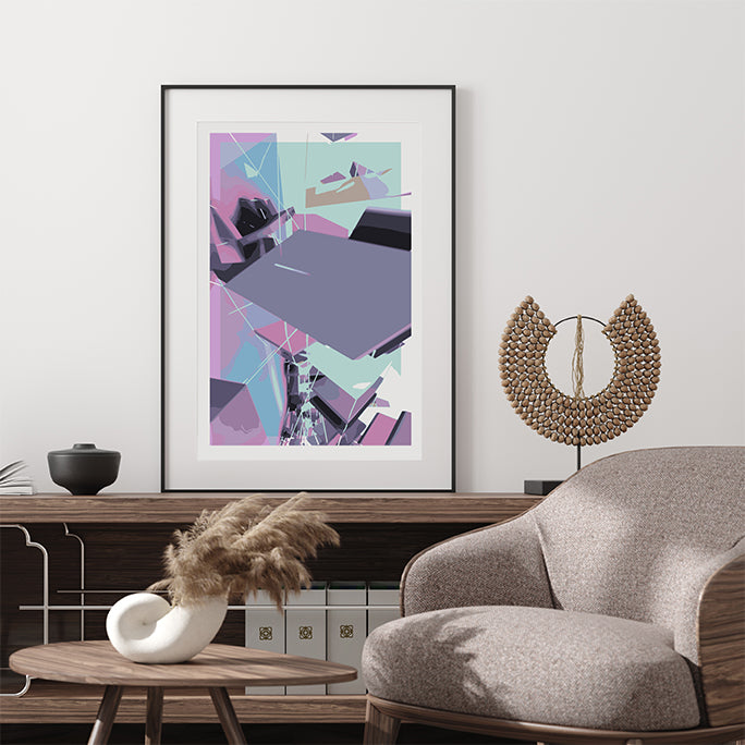 Abstract poster print by Henry Hu, with purple and blue shapes, in living room