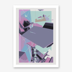 Abstract poster print by Henry Hu, with purple and blue shapes.