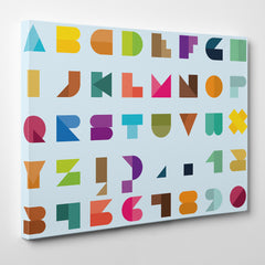 Poster print with colourful abstract alphabet letters, on light blue background. Modern art print for a stylish interior. Suitable for older children and adults room too - side view