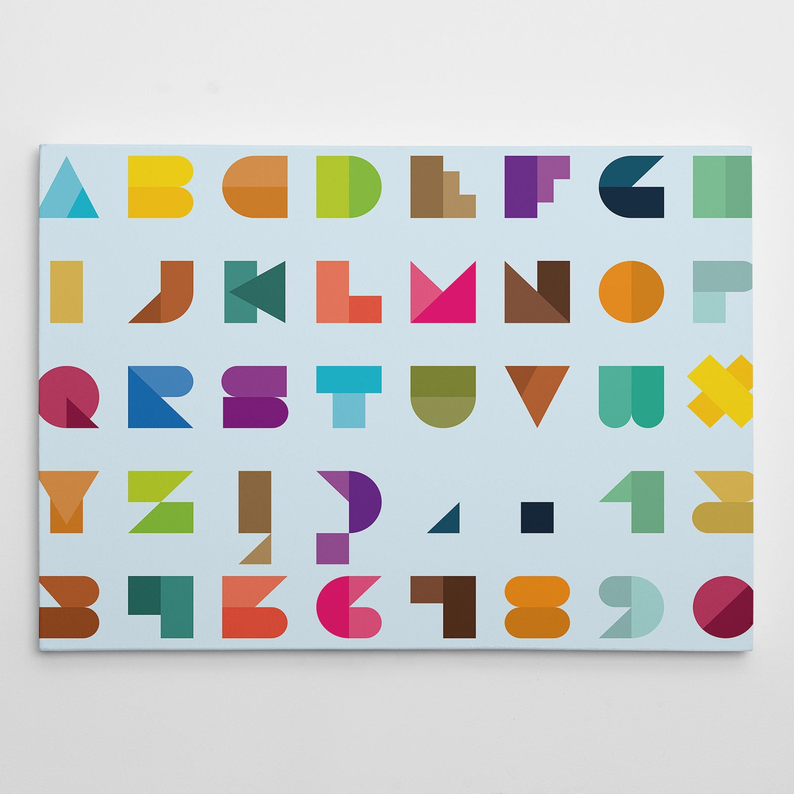 Poster print with colourful abstract alphabet letters, on light blue background. Modern art print for a stylish interior. Suitable for older children and adults room too.
