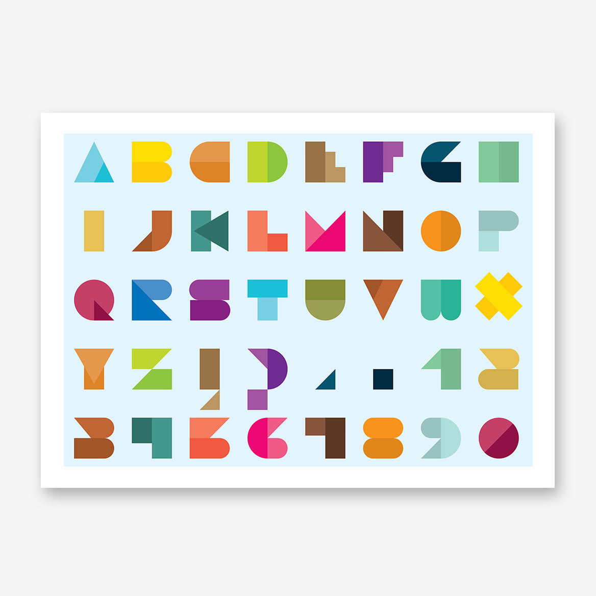 Poster print with colourful abstract alphabet letters, on light blue background.
