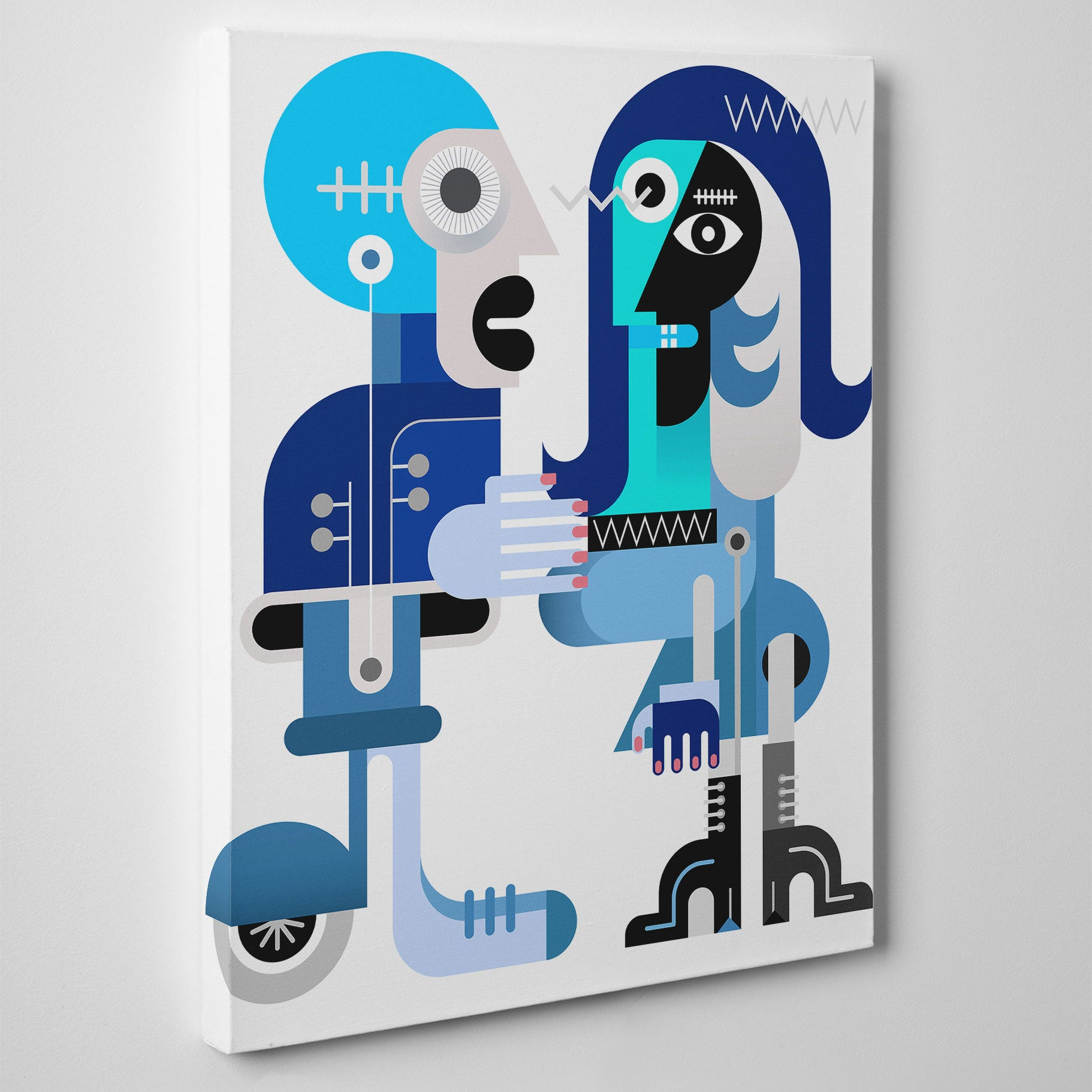 Geometric canvas print with abstract blue couple, on white background - side view