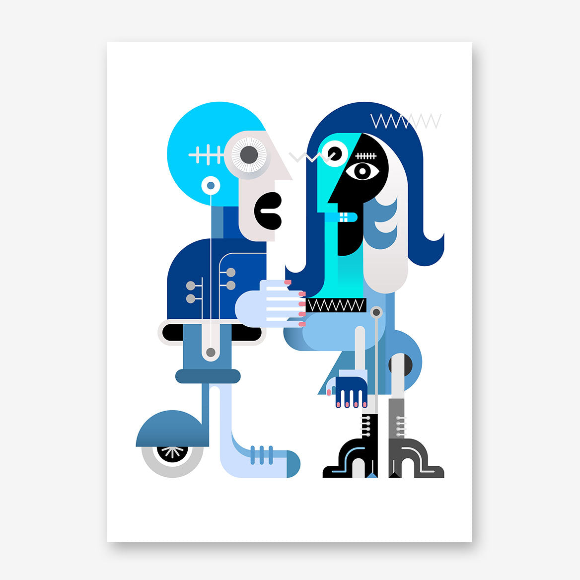Geometric poster print with abstract blue couple, on white background.