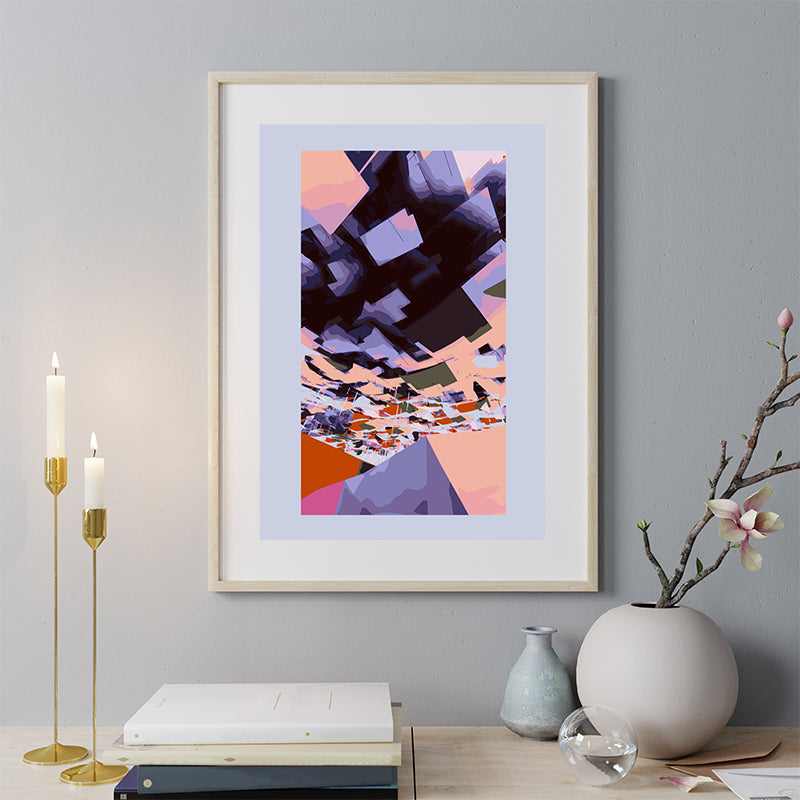Digital art print by Henry Hu, with purple, peach and black, with border