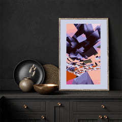 Digital art print by Henry Hu, with purple, peach and black, in kitchen