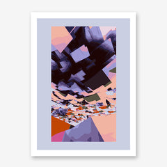 Digital art print by Henry Hu, with purple, peach and black