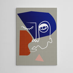 Line art canvas print with an abstract face drawing, on grey background.