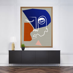 Line art poster print with abstract face drawing, on grey background - wall view