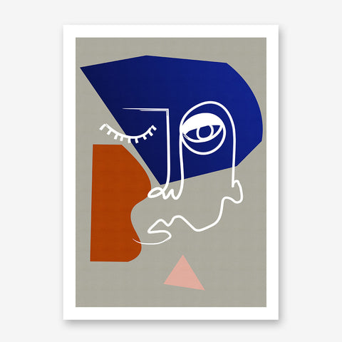 Line art poster print with abstract face drawing, on grey background.
