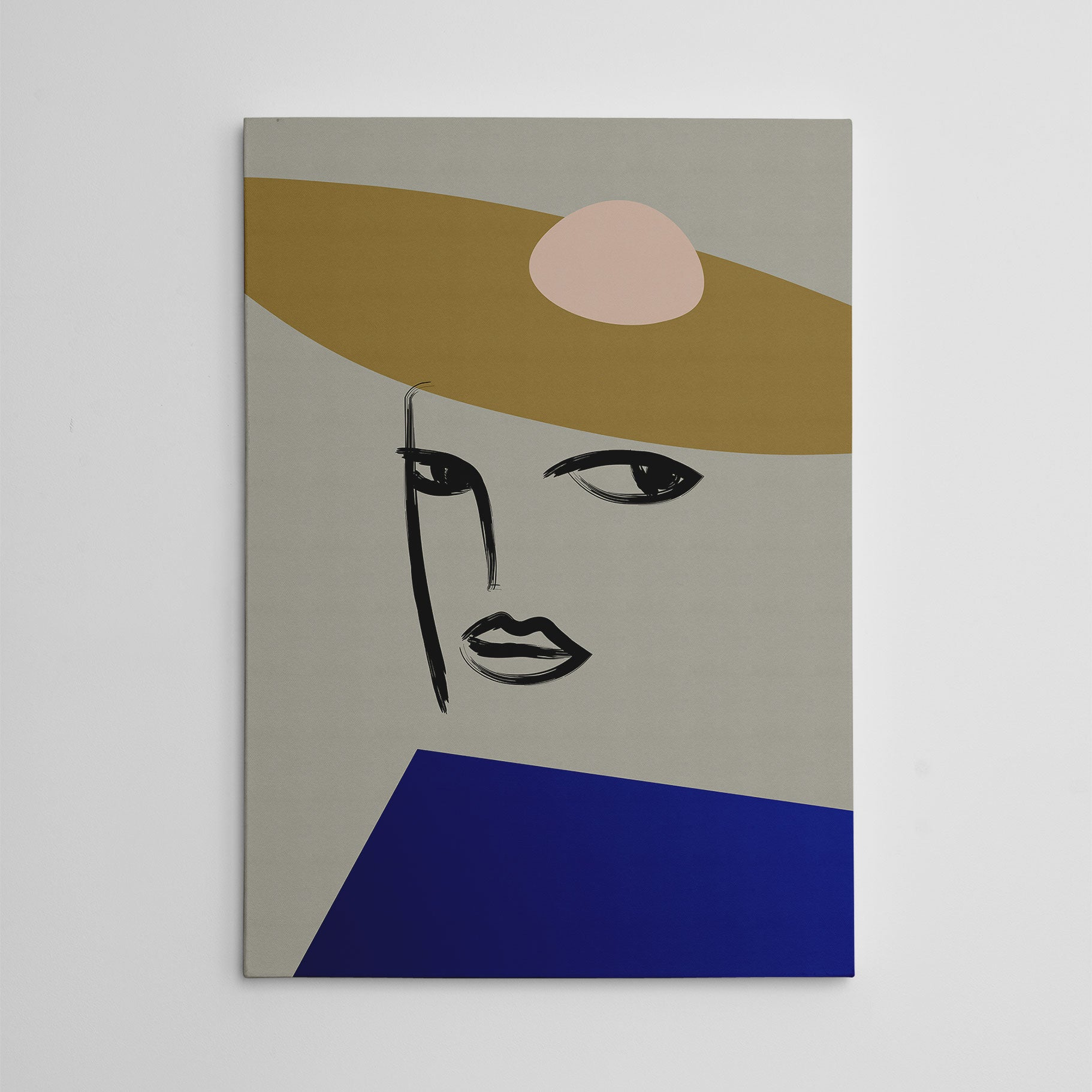 Line art canvas print with abstract woman's portrait, on grey background.