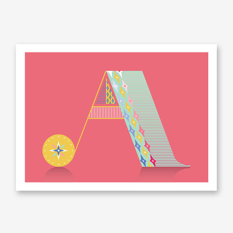 Poster print with patterned letter A, on pink background.