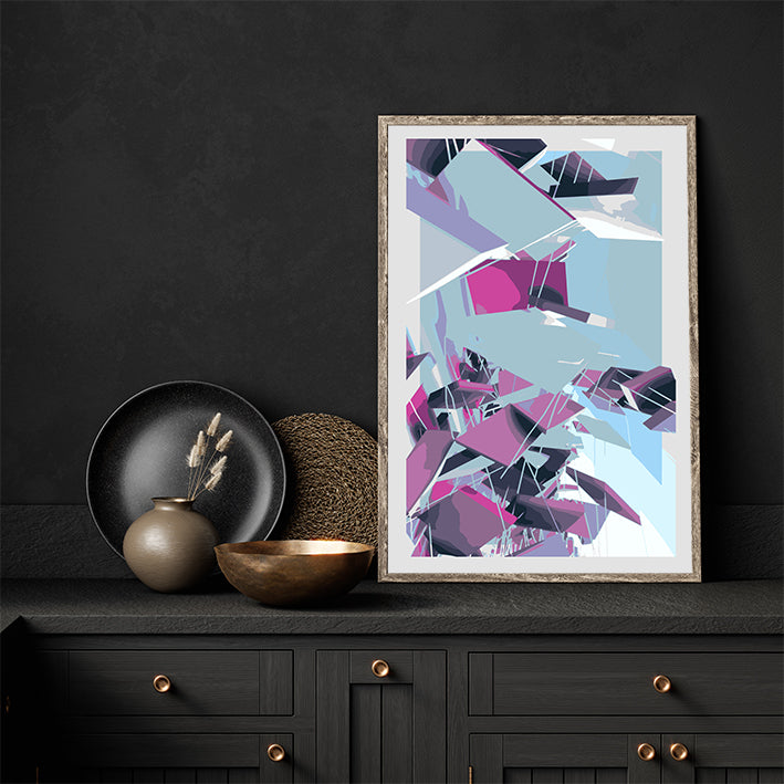 Digital geometric art print by Henry Hu, with grey, purple and blue shapes, full print
