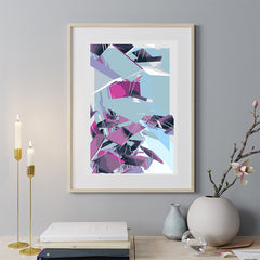 Digital geometric art print by Henry Hu, with grey, purple and blue shapes, on hallway