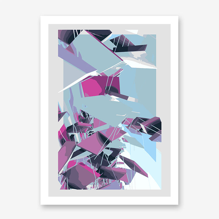 Digital geometric art print by Henry Hu, with grey, purple and blue shapes.