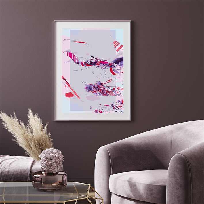 Abstract poster print with pink, purple and blue shapes, printed with border