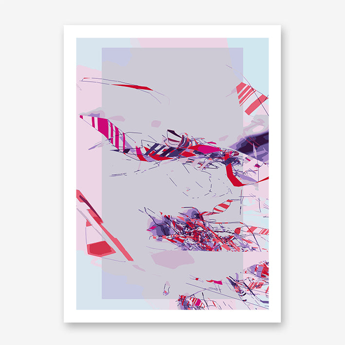 Abstract poster print by Henry Hu with pink, purple, red and blue shapes.