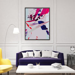 Abstract poster print with pink, purple and blue shapes, as full print