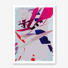 Abstract poster print by Henry Hu with pink, purple and blue shapes.