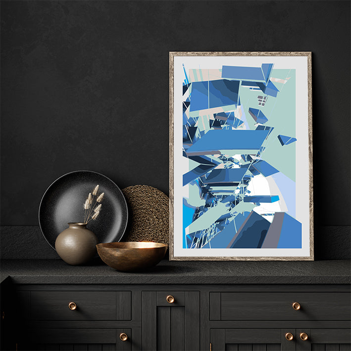 Digital geometric art print by Henry Hu with grey, mint and blue shapes, in kitchen